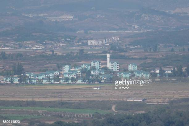 View of North Korea's Gijungdong propaganda village from Dora Observatory in South Korea near the DMZ October 13 2017