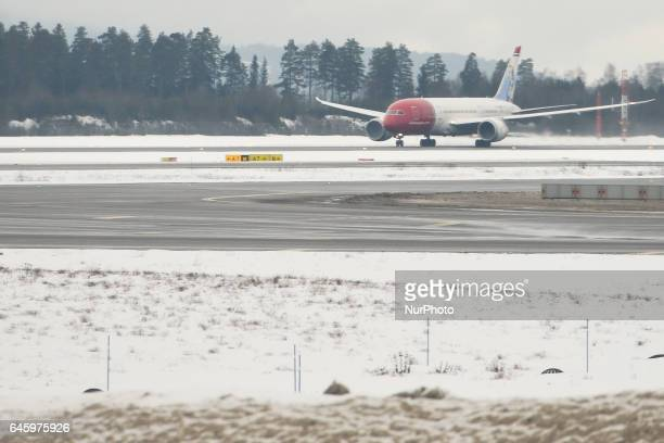 A view of Norvegiancom plane at Gardermoen Oslo Airport On Monday February 27 Oslo Norway