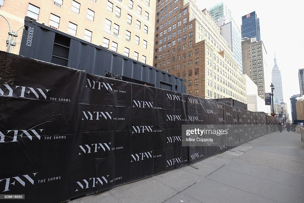 A view of NYFW signage during New York Fashion Week: The Shows at Moynihan Station on February 12, 2016 in New York City.