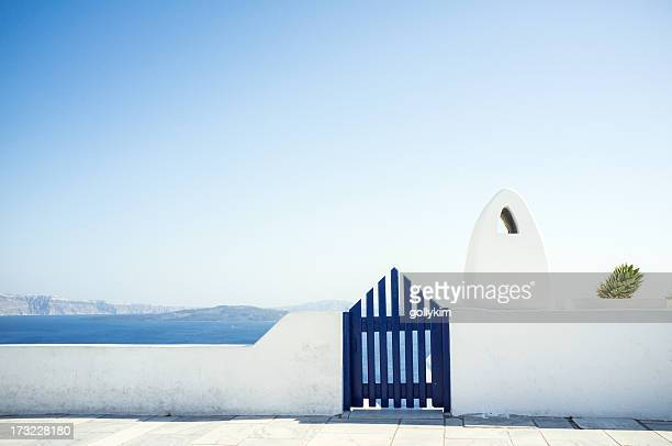 View of ocean from balcony, Greece, Santorini Island, Oia