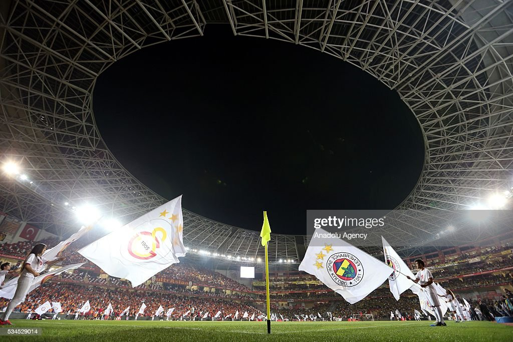 A view of of the stadium during the ceremony piror to the Ziraat Turkish Cup Final match between Galatasaray and Fenerbahce at Antalya Ataturk Stadium in Antalya, Turkey on May 26, 2016.