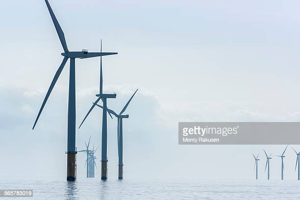 View of offshore windfarm from service boat