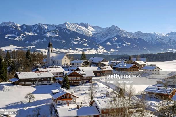 View of Ofterschwang in winter, Allgaeu, Swabia, Bavaria, Germany