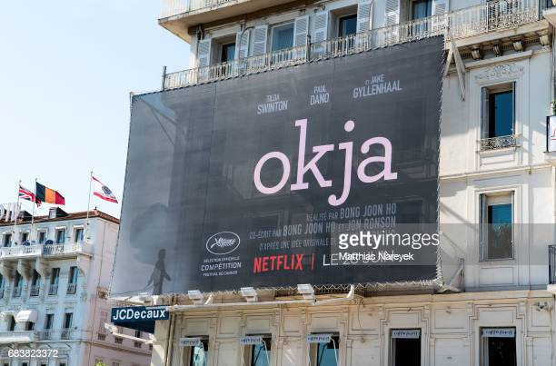A view of 'Okja' film signage during the 70th annual Cannes Film Festival at on May 16 2017 in Cannes France