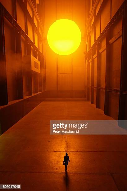 View of Olafur Eliasson's 'The Weather Project' installation at the Tate Modern gallery London England October 15 2003