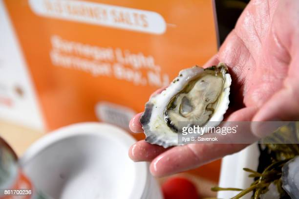 A view of Old Barney Salts oysters served during Oyster Bash presented by Barnegat Oyster Collective sponsored by Modelo hosted by Adam Richman at...