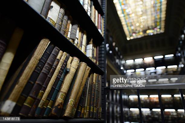View of old books at the Brazilian national library in Rio de Janeiro on April 24 2012 AFP PHOTO / Christophe Simon
