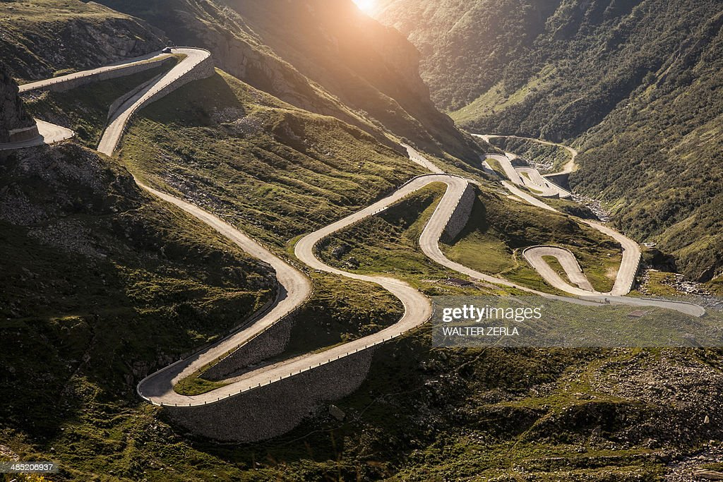 View of old road to Gotthard Pass, Switzerland : Stock Photo