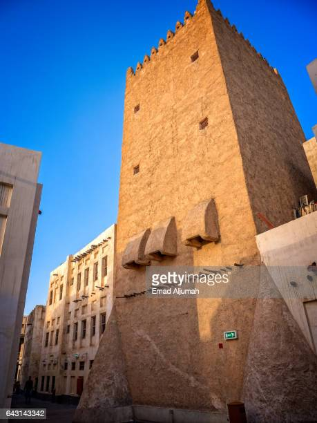 view of old tower in Souq Waqif, Doha, Qatar - February 3, 2017