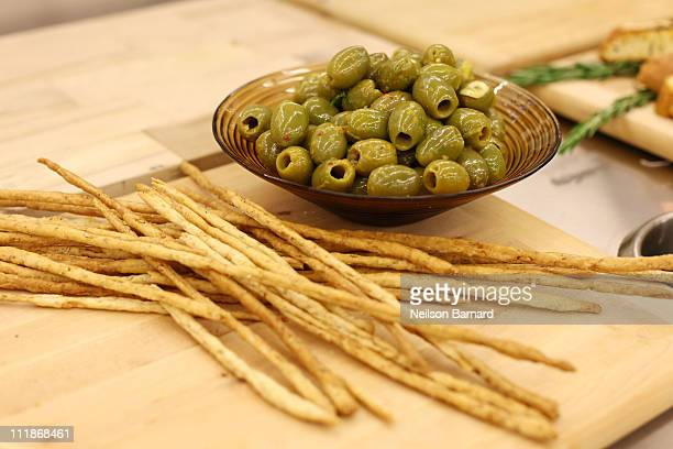 A view of olives and breadsticks at the launch of the new fifth floor event space at The International Culinary Center on April 7 2011 in New York...