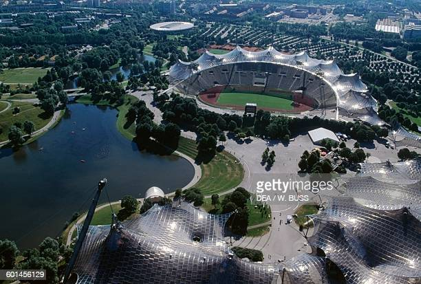 View of Olympiapark the Olympic Park constructed for the 1972 Summer Olympics Munich Bavaria Germany 20th century