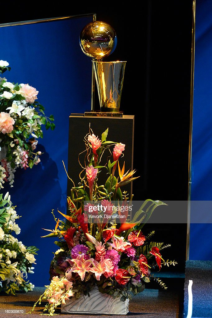 A view of one of the Los Angeles Lakers NBA championship trophies is seen during a memorial service for Los Angeles Lakers owner Dr. Jerry Buss at the Nokia Theatre L.A. Live on February 21, 2013 in Los Angeles, California. Dr. Buss died at the age of 80 on Monday following an 18-month battle with cancer. Buss won 10 NBA championships as Lakers owner since purchasing the team in 1979.
