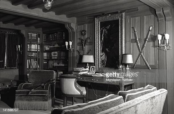 View of one of the most beautiful rooms on board of the yacht 'Christina O' of the Greek shipowner Aristotle Onassis where there is a collection of...
