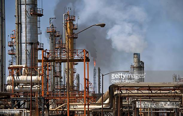 View of one of the plants where oil is precessed at Mexican stateowned petroleum company PEMEX refinery in Tula Hidalgo state Mexico on March 8 2011...