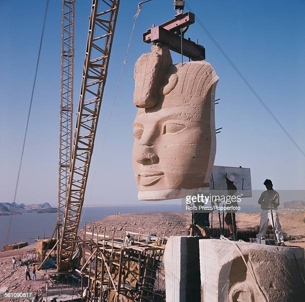 View of one of the stone heads of Pharoah Ramesses II at the Great Temple of Abu Simbel being reassembled after being moved to a new higher location...