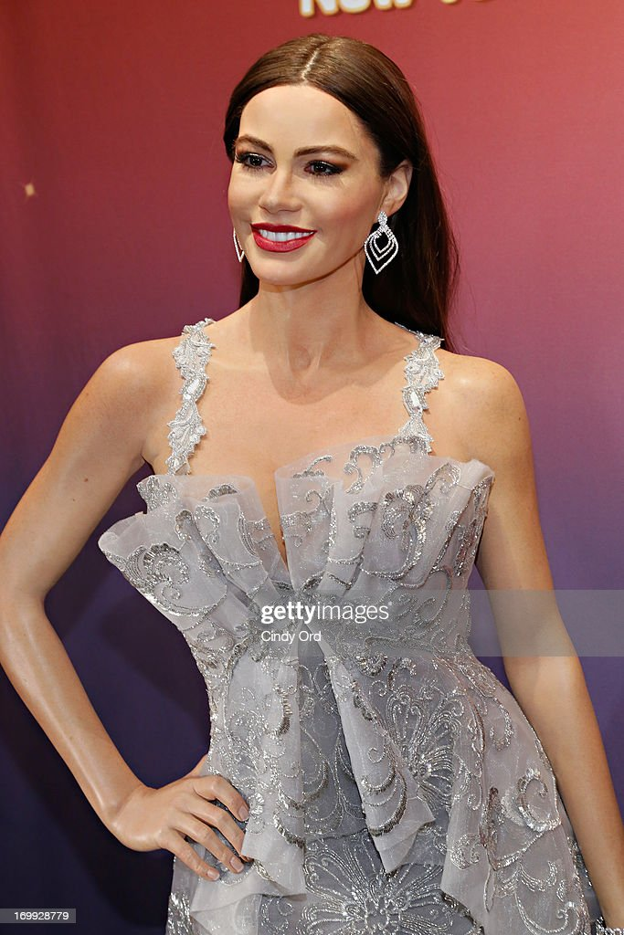 A view of one of two Madame Tussauds wax figures in the likeness of <a gi-track='captionPersonalityLinkClicked' href=/galleries/search?phrase=Sofia+Vergara&family=editorial&specificpeople=214702 ng-click='$event.stopPropagation()'>Sofia Vergara</a> which will be on display at Madame Tussauds locations in New York and Las Vegas on June 4, 2013 in New York City.