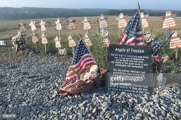 A view of one part of the temporary memorial for the passengers of Flight 93 titled 'Angels of Freedom' is shown August 26 2002 near Shanksville...