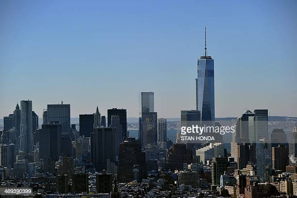 View of One World Trade Center also known as the 'Freedom Tower' and the Manhattan skyline looking south from the Empire State Building February 14...