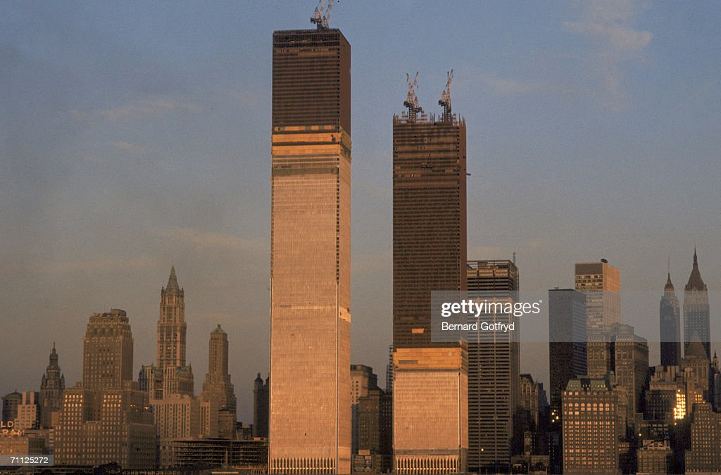 View of One World Trade Center (left) and Two World Trade Center during their construction, New York, New York, circa 1971.