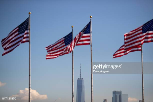 A view of One World Trade Center during a naturalization ceremony at Liberty State Park September 15 2017 in Jersey City New Jersey To mark...