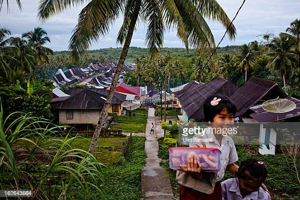 A view of Orahili Fau village on February 20 2013 in Nias Island Indonesia Some of historians and archaeologists estimated this is one of remaining...