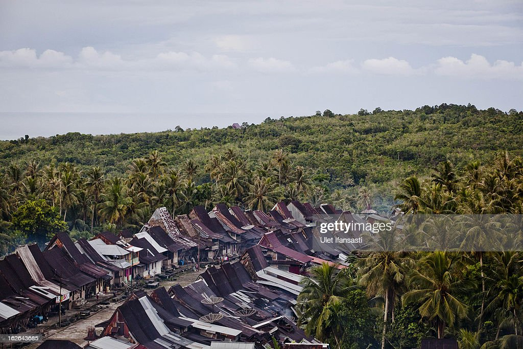 A view of Orahili Fau village on February 20, 2013 in Nias Island, Indonesia. Some of historians and archaeologists estimated this is one of remaining Megalithic cultures in existence today. Stone Jumping is a traditional ritual, with locals leaping over large stone towers, which in the past resulted in serious injury and death. Stone jumping in Nias Island was originally a tradition born of the habit of inter tribal fighting on the island of Nias.