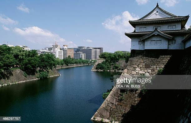 View of Osaka Castle and the moat beneath Kansai Osaka Japan 16th century