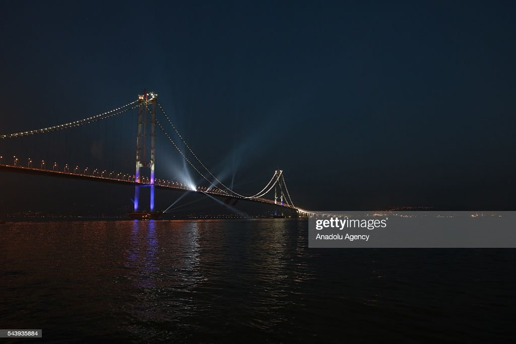 View of Osmangazi Bridge, the fourth-longest suspension bridge in the world and the second longest in Europe, at night in Turkey's western province of Kocaeli on June 30, 2016. The 2,682-meter-long bridge is named after Osman Gazi, the founder and first leader of the Ottoman Empire. The construction began in 2010 and cost $1.3 billion. The bridge lies in the southern shore of the Marmara Sea along the route of the new six-lane Istanbul-Izmir Highway Project, which cost around $6.3 billion.