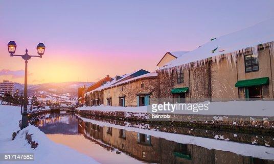 View of Otaru Canel in Winter season with sunset, Hokkaido - Japan. : Stock Photo