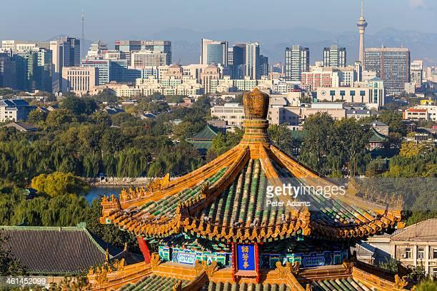 View of pagoda and city skyline, Beijing, China