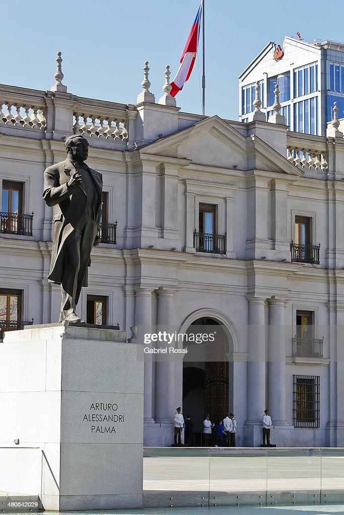 View of Palacio de la Moneda on March 17, 2014 in Santiago, Chile.