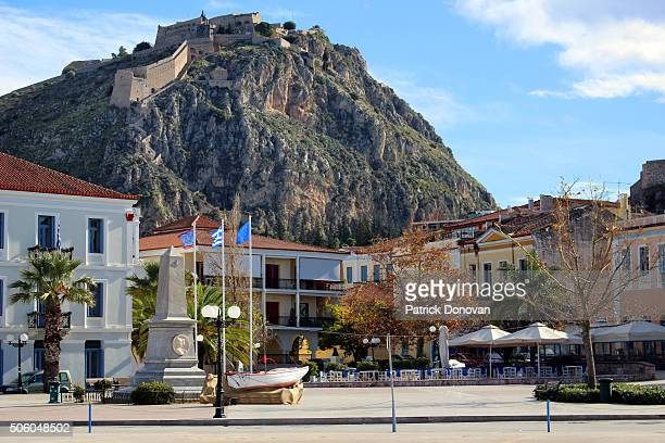 View of Palamidi Fortress from Nafplio waterfront, Greece
