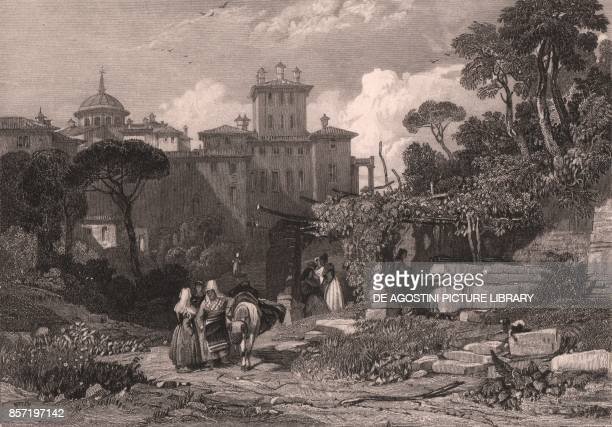 View of Palazzo Chigi in Ariccia Lazio Italy steel engraving from a drawing by James Duffield Harding ca 139x98 cm published by Jennings London