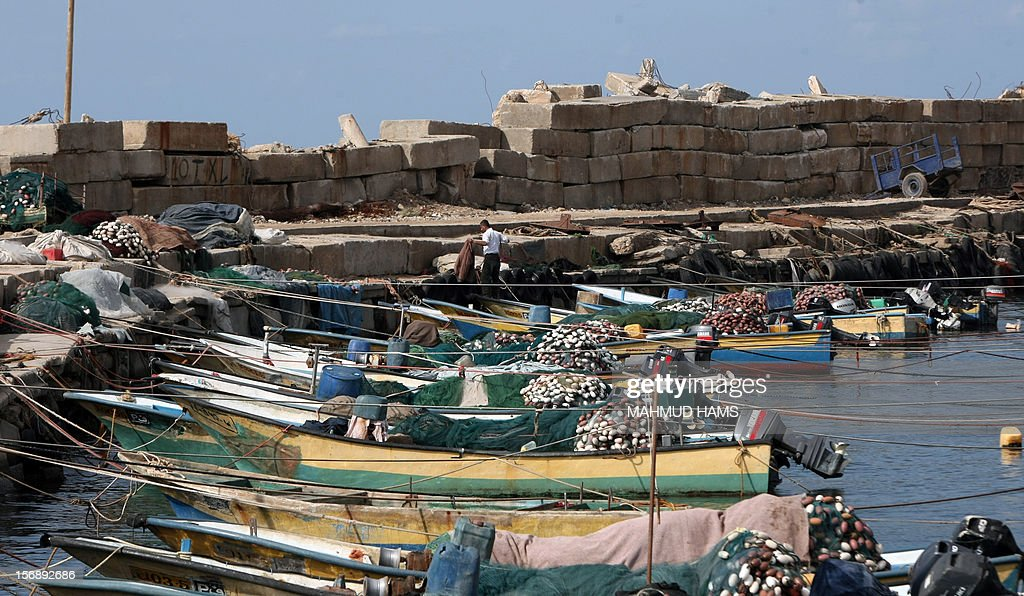 A view of Palestinian fishing boats in the port of Gaza on the Mediterranean coast in Gaza City on November 24, 2012, as a fragile truce between Israel and militant groups in Gaza enters its third day. Israel slammed Palestinian president Mahmud Abbas for his support for Gaza following its confrontation with the Jewish state, while casting aspersions on the legitimacy of his upcoming UN statehood bid.