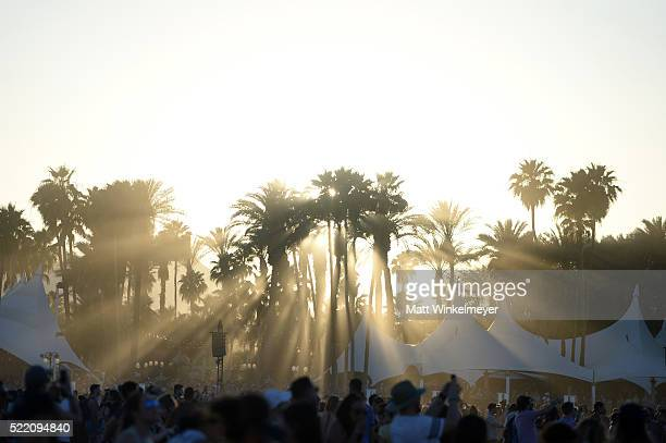 A view of palm trees and music fans during day 3 of the 2016 Coachella Valley Music And Arts Festival Weekend 1 at the Empire Polo Club on April 17...