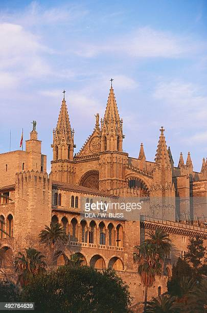 View of Palma Cathedral or La Seu and the Royal Palace of La Almudaina Palma de Mallorca Balearic Islands Spain