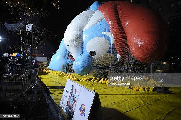 A view of Papa Smurf during inflation eve for the 87th annual Macy's Thanksgiving Day parade on November 27 2013 in New York City