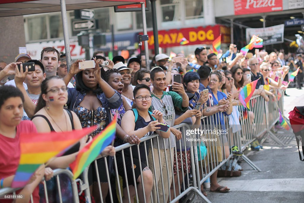 A view of parade watchers during the New York City Pride 2016 march on June 26, 2016 in New York City.