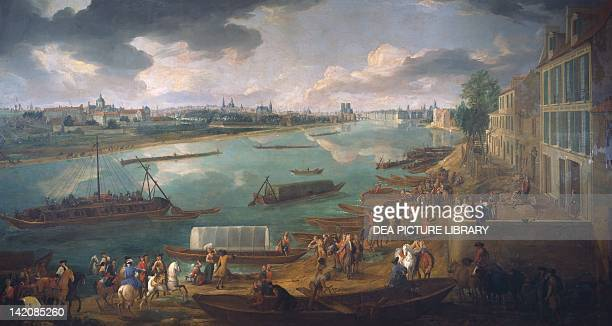 View of Paris from the Quai de la Rapee by PierreDenis Martin France 18th Century Oil on canvas