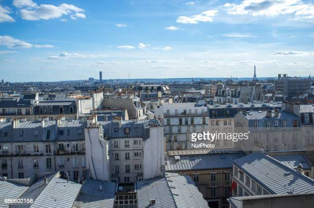 View of Paris' landscape from above in Paris on May 21 2017 The concentration of the historic buildings in the city centre is still high but there...