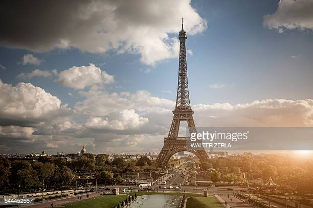 View of park and Eiffel Tower, Paris, France