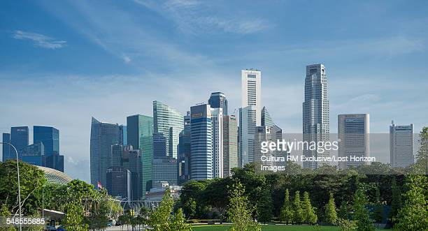 View of park and skyscraper skyline, Singapore