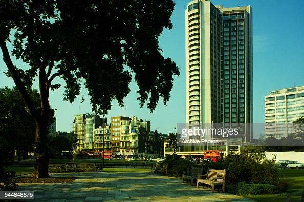 A view of Park Lane and the London Hilton on Park Lane Hotel London circa 1960