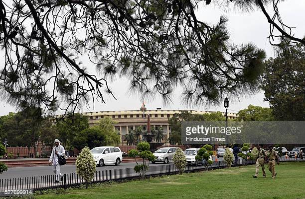 View of Parliament Building during the Parliament Session on May 3 2016 in New Delhi India With the BJP mounting an offensive against Congress...