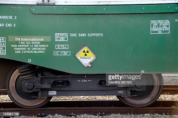 View of part of a train carrying highly radioactive nuclear waste from the retreatment La Hague factory bound for Gorleben in Germany currently...