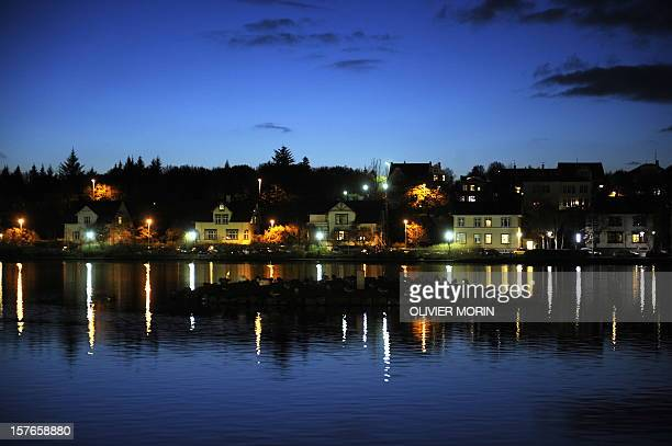View of part of the bay in front of the city hall is pictured on October 8 2008 in Reykjavik Iceland's recovery from the financial crisis will take...