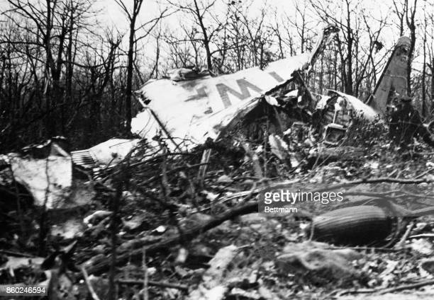 A view of part of the wreckage of the luxury airliner which crashed into a mountain side near Uniontown Pennsylvania The crash resulted in the death...