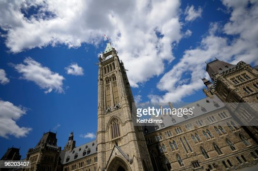 View of Peace Tower looking up to the sky