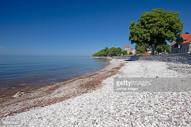 View of pebble beach, Visby, Gotland, Sweden
