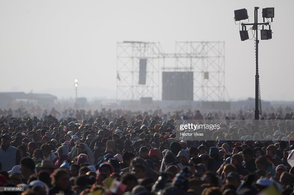 View of people during a mass at Ecatepec on February 14, 2016 in Ecatepec, Mexico. Pope Francis is on a five-day visit in Mexico from February 12 to 17 where he is expected to visit five states.